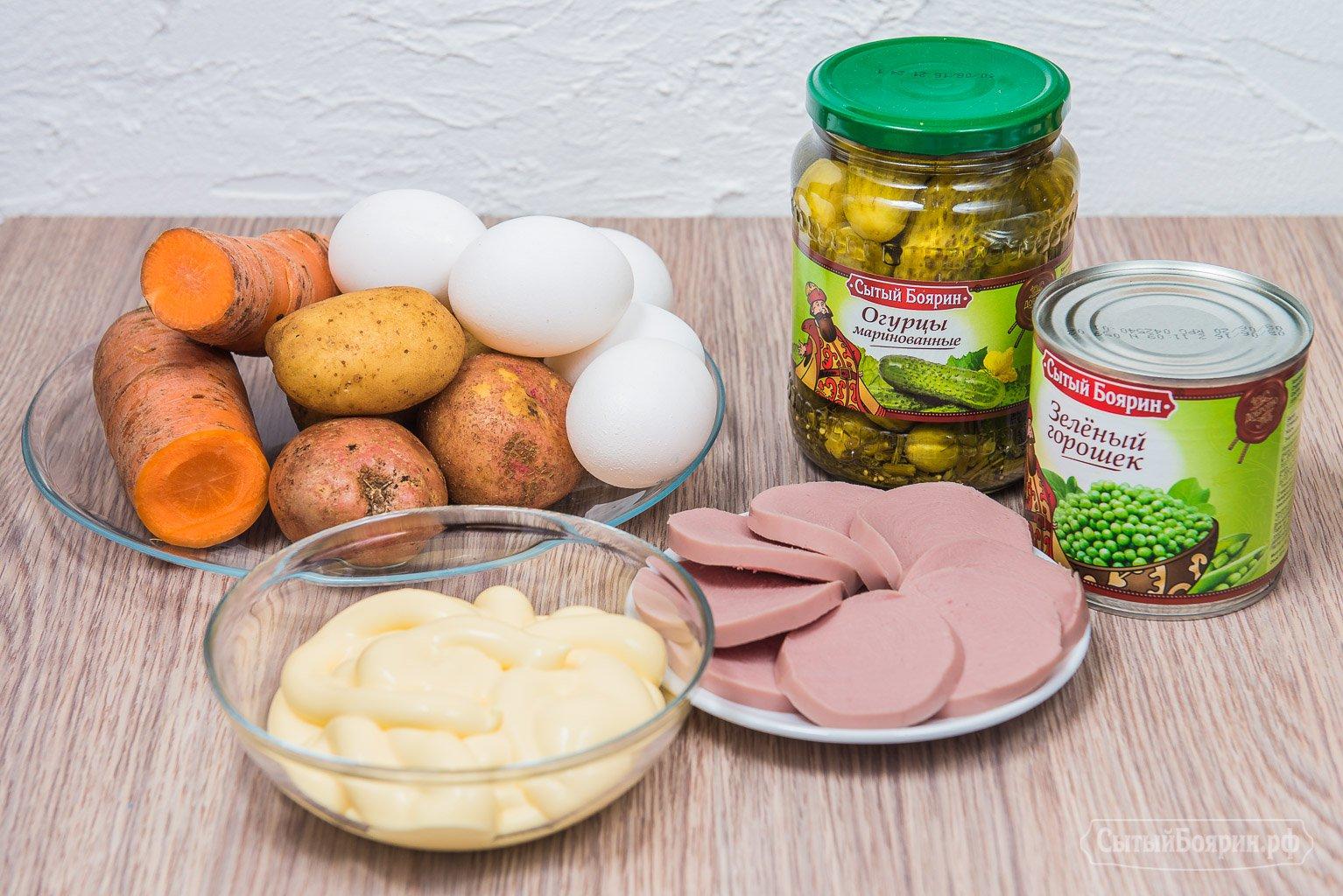 Оливье рецепт классический с колбасой с пошагово 2